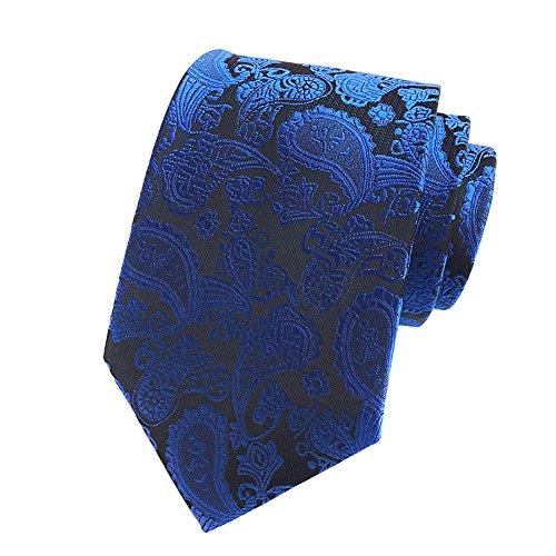Pisces.goods New Royal Blue Paisley JACQUARD WOVEN Mens Tie Necktie