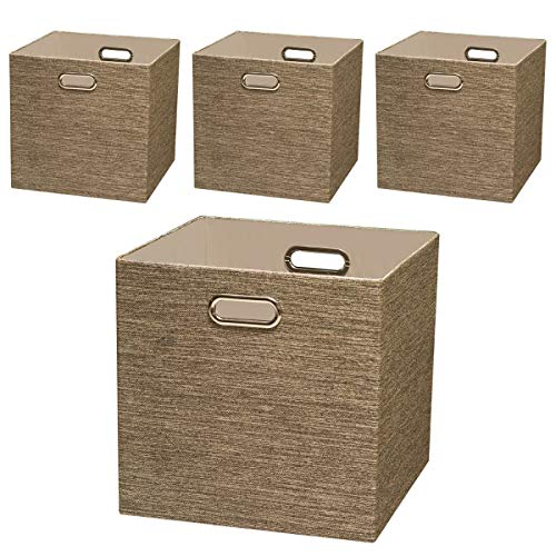 Posprica Storage Basket Bins,13×13 Foldable Storage Cube Boxes Fabric Drawer for Closet Shelf Cabinet Bookcase,4pcs,Coffee