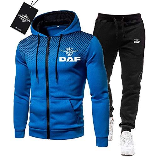 BOLGRTYXC de Los Hombres Chandal Conjunto Trotar Traje D_A-F-s Hooded Zipper Chaqueta + Pantalones Deporte R Niños/blue/XXL