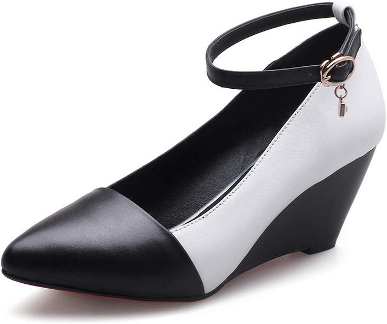 AN Womens Wedges Pointed-Toe Buckle Cow Leather Pumps shoes DGU00870