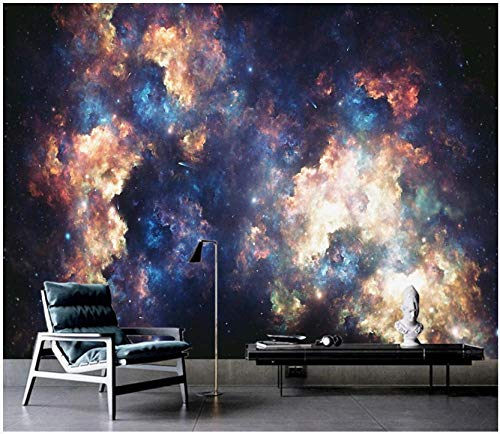 Fototapete Vliestapete Retro Science Fiction Sternenuniversum Galaxie Fototapete 3D Effekt Tapeten Dekoration Wandtapete Wanddeko Wandbilder 400x280cm
