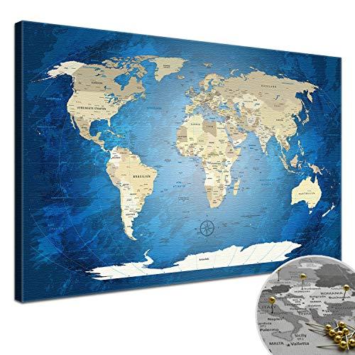 """LANA KK - Weltkarte Leinwandbild mit Korkrückwand zum pinnen der Reiseziele – """"World Map Blue Ocean"""" - deutsch - Kunstdruck-Pinnwand Globus in blau, in 120x80cm"""