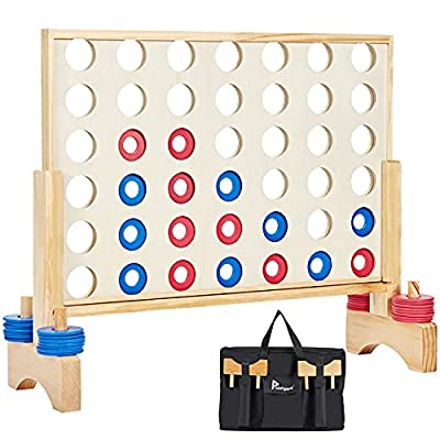 Pointyard Giant Wooden 4 in a Row Game, 26'' Width Large Connect 4 Outdoor & Indoor Game Set with Coins & Carrying Bag - Line Up 4 Travel Board Games for Kids Adults Family by Pointyard