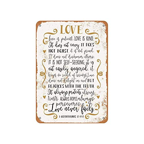 Sar54ryld Biblia Art – 1 Corintios 13:4-8 Vintage Look Metal Sign