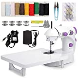MinRi Mini Sewing Machine with Upgrade Extension Table Adjustable Double Threads and Two