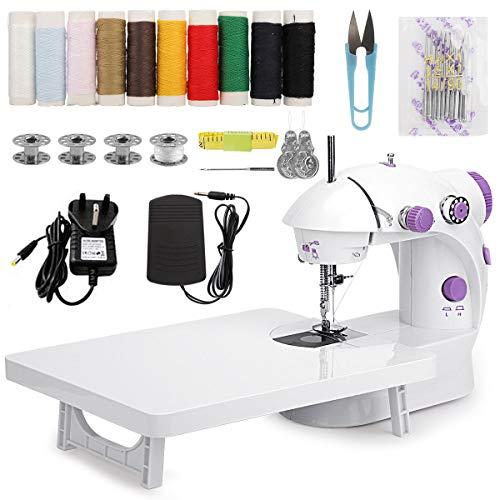 MinRi Mini máquina de coser con mesa de extensión ajustable de doble hilo y dos velocidades, kit de costura portátil para manualidades, hogar, viajes, niños, principiantes