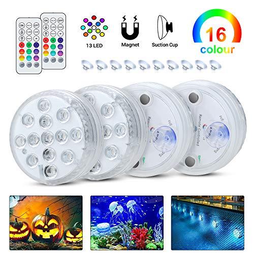Komake Unterwasser LED Licht 4 Stück mit Fernbedienung, RGB Mehr Farbwechsel Wasserdichte IP68 LED-Leuchten für Blumen,Aquarium,Hochzeit,Schwimmkot,Halloween,Party,Weihnachten