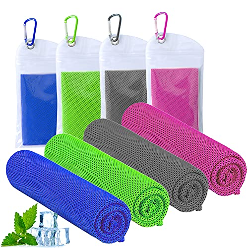 ICECUUL Cooling Towel 4 Packs (47'x12') Microfiber Towel for Instant Cooling Relief, Cool Cold Ice Towel for Golf Accessory Travel Accessory Sport Accessory Running Accessory & Outdoor Sports