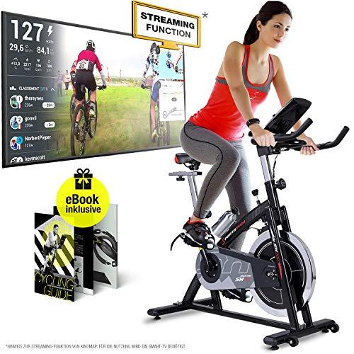 Sportstech Profi Indoor Cycle SX200 – Deutsche Qualitätsmarke -mit Video Events & Multiplayer APP, 22KG Schwungrad, Pulsgurt kompatibel-Speedbike mit Riemenantrieb-Ergometer bis 125Kg, inkl. eBook