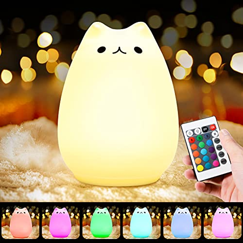 Litake Cat Night Light, Squishy Cat Lamp, Nursery Night Lamp for Kids, Cute Cat Led Light, Silicone Baby Nightlight for Children Toddler Birthday Gift Bedroom Decor, 7-Color Changing/Warm White Mode