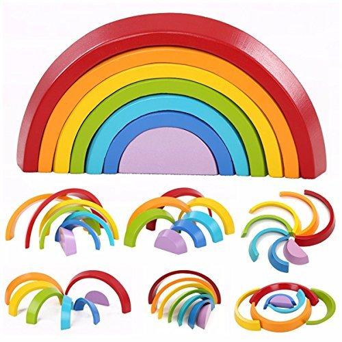 king do way 7pcs Apilador de Arco Iris de Madera Geometría Bloques de Construcción Juguete de Aprendizaje Preescolar Puzzle Educativo para Niños Niño Niña