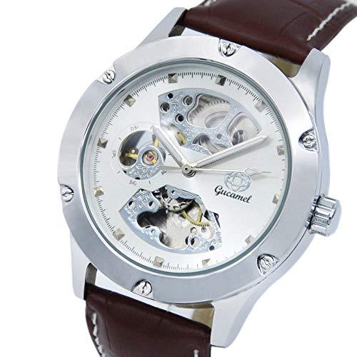 Relojes de Calendario para Hombres Reloj de Pulsera mecánico automático de Cuerda automática analógica -A