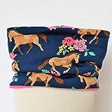 Fleece Loop Schal | Pferde Blumen dunkelblau rosa | Mädchen Kinder für 3-4 - 5-6 - 7-8 Jahre | warm gefüttert
