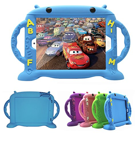 CHINFAI iPad Case for Kids, iPad 2017 2018 9.7 inch Case/iPad Pro/iPad Air 1 2 Cute Cartoon Case, Shockproof Silicone Protective Cover with Self Stand [BPA Free][Side Handles] (Blue)