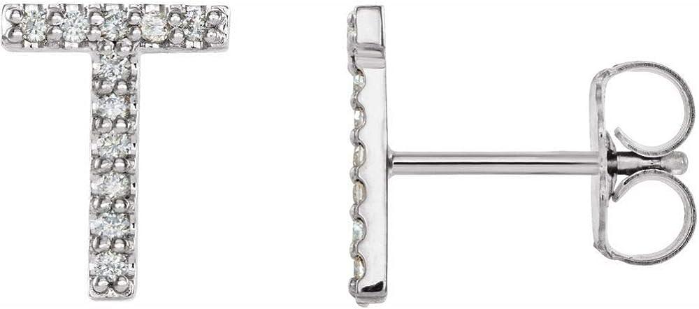 Solid 14k White Gold .05 Cttw Diamond Single Each Earring Sold Seperately Alphabet Initial Letter T Stud Earring (8.9mm x 6.8mm)