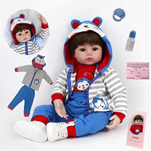 AIBAOLIAN 18 Pulgadas 45 cm Reborn Bebe muñeca niño Silicona Vinilo muñeca Realista niño durmiendo con los Ojos Cerrados Juguete para niños pequeños