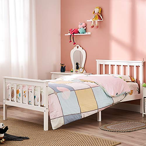 Panana Single Bed Solid Wood Bed Frame White Wooden For Adults, Kids, Teenagers (Single bed)