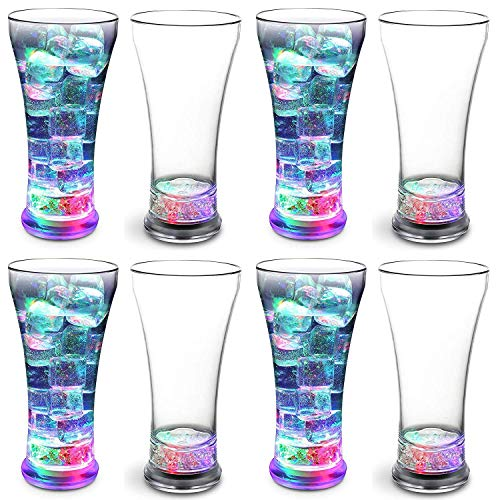 KOVOT Set of 8 LED Party Tumblers 14 Ounce: 3 Light Up Modes: Slow Blink, Running Flash, All On |