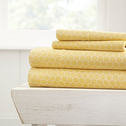 Becky Cameron Printed Honeycomb Patterned 4 Piece Sheet Set - Queen - Yellow