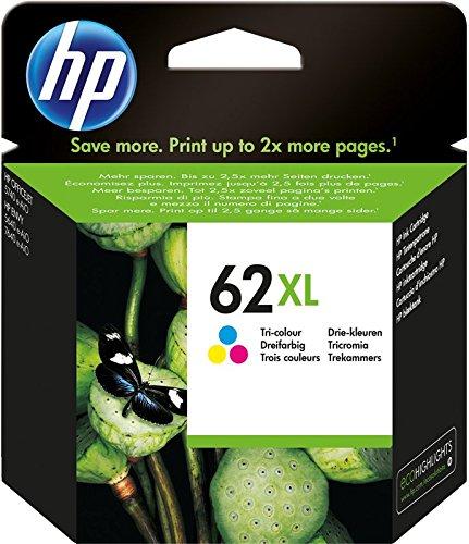 HP 62XL C2P07AE Cartuccia Originale per Stampanti HP a Getto d'inchiostro Compatibile con Stampanti HP Envy All in One 5540, 5642, 5644, 5742, 7640, l'Officejet 5740 e l'Officejet Serie 200, Tricomia