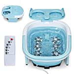 COSTWAY Collapsible Foot Bath Massager, Portable Feet Salon Tub with Adjustable Heating Temperature & Electric Roller, Remote Control for Easy Operation, Infrared Lights, Bubbles Function (Baby Blue)