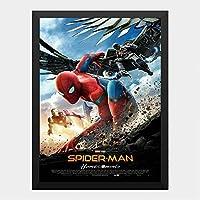 ハンギングペインティング - スパイダーマン ホームカミング マーベル 6のポスター 黒フォトフレーム、ファッション絵画、壁飾り、家族壁画装飾 サイズ:33x24cm(額縁を送る)