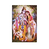 GADG Lord Radha Krishna India TV Poster Decorative Painting Canvas Wall Art Living Room Posters Bedroom Painting Framed and Unframed 12x18inch(30x45cm)