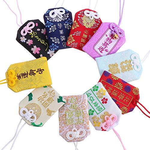 BESPORTBLE 10 Piezas de Dijes Japoneses Omamori Amuletos de Buena Suerte Colgantes Bolsita Amuletos de Buena Suerte para La Salud/ Educación// Éxito/ Seguridad Vial