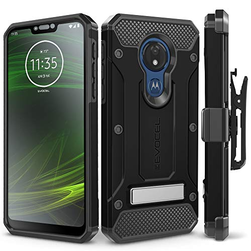 Evocel Motorola Moto G7 Power Case, [Explorer Series Pro] Premium Full Body Case with Glass Screen Protector, Belt Clip Holster, Metal Kickstand for Motorola Moto G7 Power (XT1955), Black