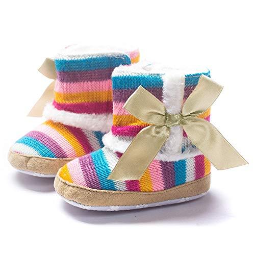 Kleinkind Winterstiefel Baby Mädchen Warm Halten Multicolor Regenbogen Streifen Bogen Schneestiefel Weiche Sohlen Krippe Schuhe Stiefel Weiche Sohlen Yuiopmo