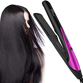 Hair Straightener and Curler 2 in 1 Professional Titanium Plate Flat Iron Adjustable LCD Display Hair Straightening Iron for All Hair Types  Purple&Black