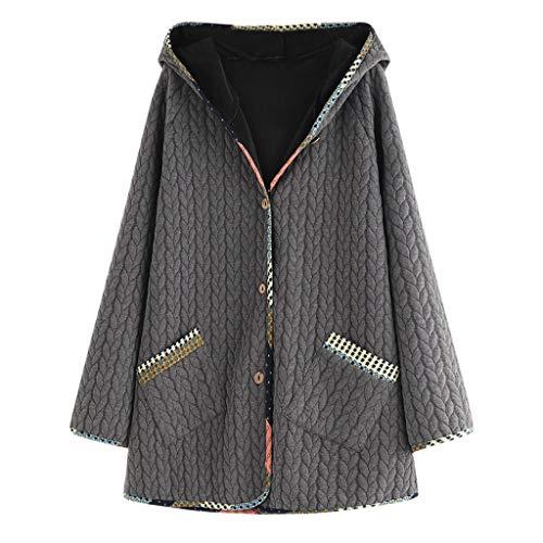 GOKOMO Kaputzenmantel lang Damen Mantel größe 50 Damen Mantel Lange Jacke Wolle mit Kapuze und Taschen, Große Größen(A,Large)