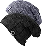2X Bonnet Chapeau Femme Homme Hiver Chaud Tricoté Epais Classique,Gris+Noir, 56/59