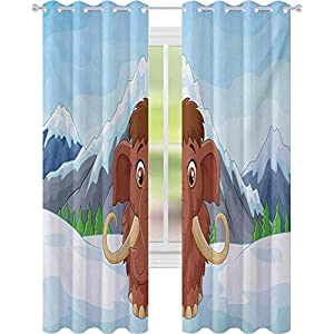 Crib Bedding And Baby Bedding Window Treatments Curtains, Baby Mammoth In Ice Snowy Mountain Winter Cheerful Animal Prehistoric Design, W52 X L95 Curtains For Baby Nursery Room, Brown Blue