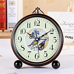 FirstDecor 5 inch Lovely Birds Pattern Retro Vintage Alarm Clocks European Retro Table Clocks Desktop Clock Home Decoration,Battery Operated Travel Clock With Metal shell