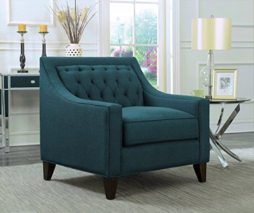 Iconic Home Aberdeen Linen Tufted Back Down Mix Modern Contemporary Club Chair, Teal