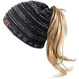 Bonnet Femme Bonnet d'hiver avec Trou Chapeaux de Queue de Cheval Bonnet...
