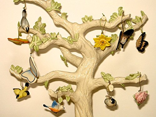 Lenox Spring 10 Miniature Tree Ornaments Set Bird Butterfly Flower NO TREE