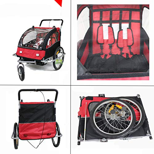 QQLOV Kids' Bicycle Trailer 2-in-1 Stroller Jogger Pushchair 2-Seater Foldable Childs Bicycle Trailer for 2 Kids 145x89x100cm Steel Frame Red