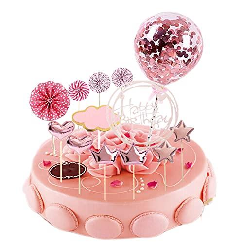 JINCHENG Happy Birthday Cake Topper Decoración 13 Piezas Decoracion Tarta Cumpleaños,para Niñas Niños Mujeres Hombre,Estrellas Cake Cupcake Topper Suministros de Purpurina para Fiestas (Pink round)