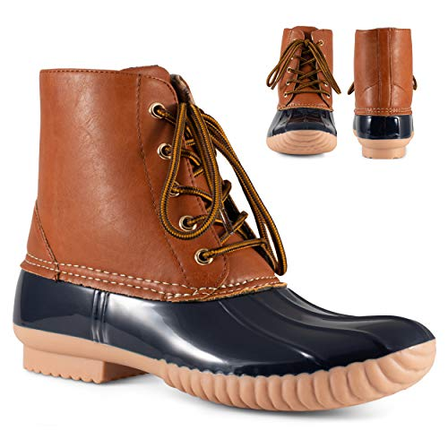 Twisted Shoes Becca Womens Rain Boots, Waterproof Wide Calf, Rubber Lace Up Duck Boot, Navy, 8
