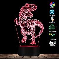 スマートフォンコントロール、手描きティラノサウルスレックス3D光学イリュージョンナイトライトT-レックスベッドルームカラフルなナイトランプ恐竜照明アートディノギフト
