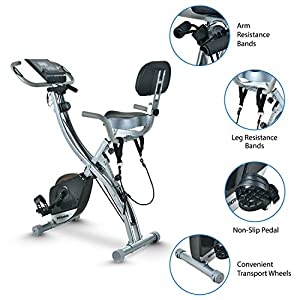 Folding Magnetic Stationary Exercise Bike Upright Recumbent Exercise Bike Folding Fitness Home X Exercise Bike Indoor Cycling Bike Bicycle for Workout Machine Cardio Workout Losing Weight