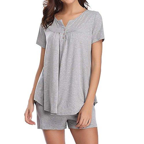 Startview Womens Button Short Sleeve Sleepwear Set Pajama Sets Bamboo Tank and Shorts Set