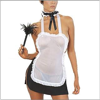 Romántico traje de mucama francés, traje de mucama Traje de encaje transparente.