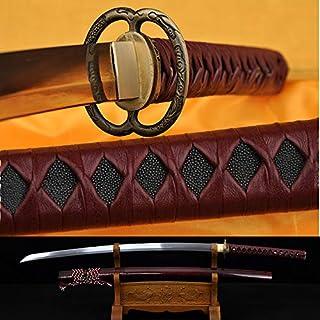 GUREN Japanese Swords Battle Ready Katana Original Full Tang Sharpened Blade Hand Made Folded Steel Leather Ito Dragon Musashi Tsuba