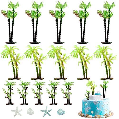 SwirlColor Tree Cake Topper Artificial Palm Model & Starfish Shells Mini Coconut Tree Kit Decoration Ornament (19PCS)