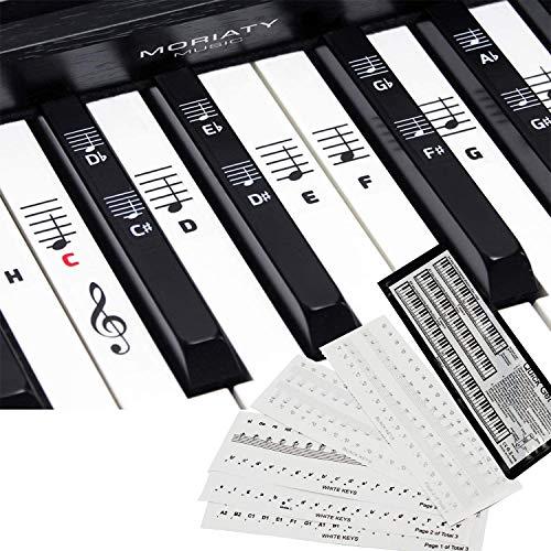 [2-pack] piano + étiquette de partition de clavier, utilisé pour les autocollants avec 49. 61. 76. 88 pianos à touches, autocollants de touches de piano pour enfants et débutants.