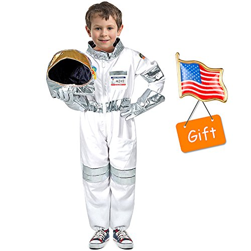 Latocos Astronauts Costume Space Pretend Dress up Role Play Set for Kids Boys Girls Ages 3-7 with a Free America Flag Pin