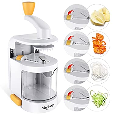 Spiralizer Vegetable Slicer, VegMate Vegetable Spiralizer Spiral Slicer Cutter with Built-in 4-in-1 Rotating Blades and Strong Suction Base, Pasta Spaghetti Maker for Low Carb,Paleo,Gluten-Free Meals